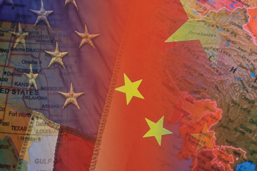 American Flag and Map with Image of China Flag and Map Overlapping